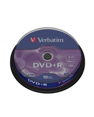 DVD+R Verbatim [ 10pcs, 4.7GB, 16x, spindle, matte silver ]