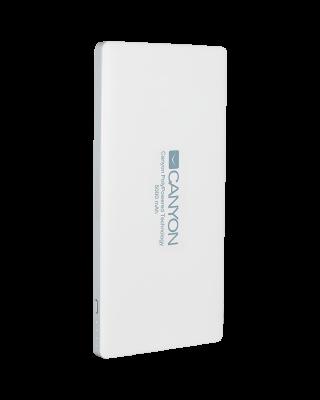 CANYON PB-51 Power bank 5000mAh Li-polymer battery,with Smart IC, Input 5V/2A, Output 5V/2A(Max), 138*69*9.2mm, 0.146kg,White