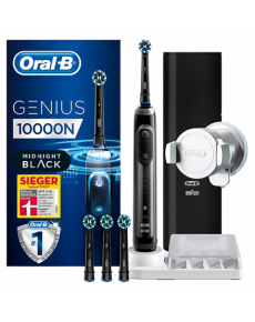 Oral-B Electric Toothbrush Genius 10000N Black, 6 brushing modes for Daily clean, Gum care, Soft clean, Whitening, PRO clean, Tongue clean, Number of brush heads included 4