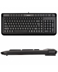 A4Tech Keyboard KL40, slim,  multimedia, wired, Keyboard layout EN/RU, black, USB