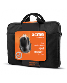 "Acme 16M37 Notebook case + MS13 Optical mouse Fits up to size 15.6 "", Black, Shoulder strap,"