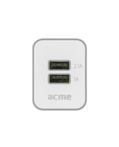 Acme USB wall charger, 2 USB ports;Fast charging;Short circuit protection;Rolling cable;, AC 100–240 V 50/60 Hz, 0.3 A;USB output: DC 5 V, 1 A/2.1 A;Cable output: DC 5 V, 2.1 A;Output type: 2 x standard USB, type A and micro USB;Other: rolling micro USB cable;