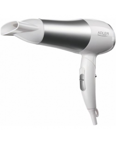 Hair Dryer Adler Warranty 24 month(s), Foldable handle, Motor type DC, 2200 W, White/Silver