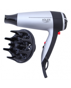 Hair Dryer Adler Warranty 24 month(s), Foldable handle, Motor type DC, 2000 W, White/Black
