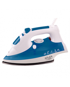 Iron Adler AD 5022 White/Blue, 2200 W, With cord, Anti-scale system, Vertical steam function