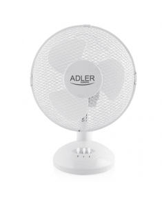 Adler AD 7302 Desk Fan, Number of speeds 2, 60 W, Oscillation, Diameter 23 cm, White