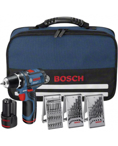 Bosch Cordless Drill GSR 12V-15 12 V, 1.5 Ah, Li-Ion, Batteries included 2 pc(s), + 39 accessories tool kit + Bag