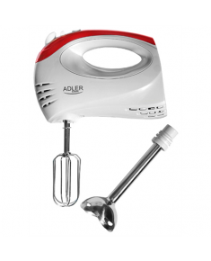 Adler Mixer AD 4212 Hand Mixer, 300 W, Number of speeds 5, Turbo mode, White