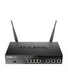D-LINK DSR-500AC, Wireless VPN Firewall, 2 10/100/1000Base-TX WAN Ports, 4 10/100/1000Base-TX LAN Ports, Console port RJ-45, 1 USB 2.0 (with support LTE), 802.11n 2.4GHz and 802.11ac 5GHz single band with 3x3 MIMO technology. Firewall Protection, Content Filtering/Intrusion Detection, 1xUSB 2.0 ports support print server, Share Port and WCN functionality. PPTP/L2TP, IPSec support 56 bit DES up to 35 tunnels, Static/Dynamic Routing(OSPF/RIP), LoadBalancing, Failover, Ipv6 routing support, Firew