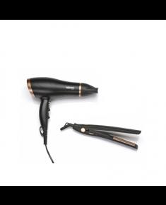 Hair Dryer & Straightener Tristar Warranty 24 month(s), Ionic function, Motor type DC, 2200 W, Black/Gold