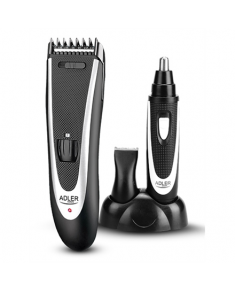 Adler AD 2822 Hair clipper + trimmer, 18 hair clipping lengths, Thinning out function, Stainless steel blades, Black Adler Adler AD 2822  Warranty 24 month(s), Hair clipper + trimmer, Cordless, Rechargeable, Base station, High-quality, built-in NiMH battery, Operating time 45 min, Black