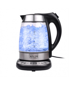 Adler AD 1247 With electronic control, Glass, Stainless steel/Black, 2200 W, 360° rotational base, 1.7 L