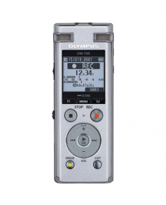 Olympus Digital Voice Recorder DM-720 Stereo/Tresmic, PCM/MP3, 18mm round dynamic speaker/ 150mW, Rechargeable, Microphone connection, MP3 playback, Silver,