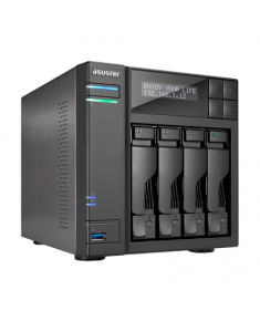 Asus Asustor Tower NAS AS6404T up to 4 HDD/SSD, Intel Celeron Quad-Core, J3455, Processor frequency 1.5 GHz, 8 GB, DDR3L, Black