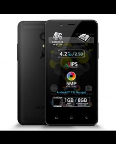 "Allview P4 Pro Black, 4.2 "", HD IPS, 768 x 1280 pixels, Internal RAM 1 GB, 8 GB, microSD, Dual SIM, 3G, 4G, Main camera 5 MP, Secondary camera VGA MP, Android, 7.0, 1600 mAh"