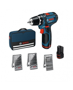 Bosch GSR 12 V-15 Li Cordless drill/2x2,0Ah+ 39 accessories tool kit + Bag Bosch