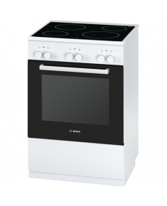 Bosch Cooker HCA422121U Hob type Vitroceramic, Oven type Electric, White, Width 60 cm, Electronic ignition, Grilling, 71 L, Depth 60 cm