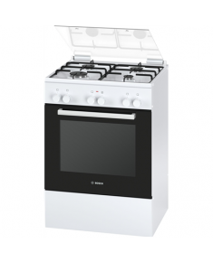 Bosch Cooker HGD425120S Hob type Gas, Oven type Electric, White, Width 60 cm, Electronic ignition, Grilling, 71 L, Depth 60 cm