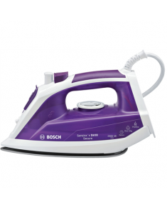 Bosch Iron TDA1024110 Violet/ white, 2400 W, Steam iron, Continuous steam 30 g/min, Steam boost performance 130 g/min, Auto power off, Anti-drip function, Anti-scale system, Vertical steam function, Water tank capacity 300 ml