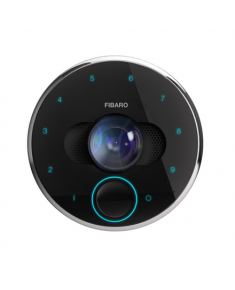 Fibaro Intercom Smart Doorbell Camera, Wi-Fi, Gates control, Rotating ring for PIN codes, FullHD resolution, Ultra-wide lens, IR illumination, Noice-canceling mic., Speaker, Proximity sensor