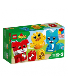LEGO My First Puzzle Pets Toys, Multi, My First Puzzle, Plastic, Help your child develop color recognition and fine motor skills, as they build the cute LEGO® DUPLO® My First Puzzle Pets with bricks decorated as food for each pet, suitable for children from age of 18 months  and up, 3 color-coded, buildable puzzles: a bird, cat and a dog