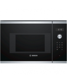 Bosch Microwave Oven BFL524MS0 20 L, Retractable, Rotary knob, round, Start button, Touch Control, 800 W, Black/ stainless steel, Built-in, Defrost function