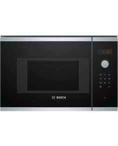 Bosch Microwave Oven BFL523MS0 20 L, Retractable, Rotary knob, Touch Control, 800 W, Stainless steel/ black, Built-in, Defrost function