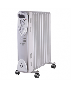Adler AD 7809 Oil Filled Radiator, Number of power levels 2, 2500 W, Number of fins 11, White