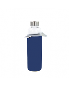 Yoko Design Glass Bottle with sleeve 1645 Blue, Capacity 0.5 L, Dishwasher proof, Bisphenol A (BPA) free