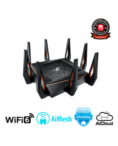 Asus Gaming Router ROG GT-AX11000 802.11ax, 1148+4804+4804 Mbit/s, 10/100/1000 Mbit/s, Ethernet LAN (RJ-45) ports 4, Mesh Support Yes, MU-MiMO Yes, 3G/4G via optional USB adapter, Antenna type 8xExternal, 2xUSB 3.1 Gen1, WiFi 6, AiMesh, AiProtection Pro, AiCloud 2.0, AiDisk, AiRadar, Tripple way Gaming accelerationm, 2.5G gaming port, DFS band, wtfast, Adaptive QoS