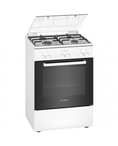Bosch Cooker HXA090D21 Hob type Gas, Oven type Electric, White, Width 60 cm, Electronic ignition, 66 L, Depth 60 cm