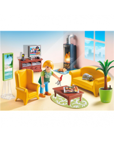 Playmobil Doll House Living Room with Fireplace   Plastic, Recommended for ages 4+