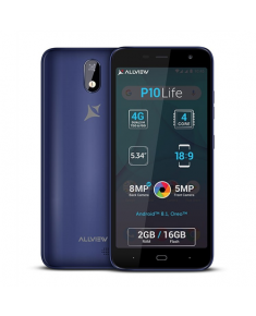 "Allview P10 Life Blue, 5.34 "", LCD, 480 x 960 pixels, Internal RAM 2 GB, 16 GB, microSD, Dual SIM, Micro SIM, 3G, 4G, Main camera 8 MP, Secondary camera 5 MP, Android, 8.1, 2500 mAh"