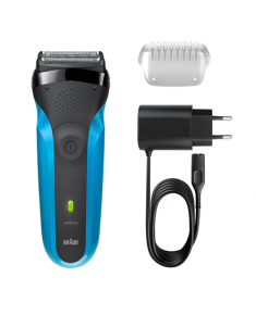 Braun Electric Shaver 310s Wet use, Rechargeable, Charging time 1 h, Ni-MH, Batteries, Blue