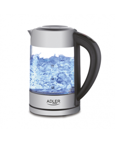 Adler Kettle AD 1247 NEW With electronic control, 1850 - 2200 W, 1.7 L, Stainless steel, glass, Stainless steel/Transparent, 360° rotational base