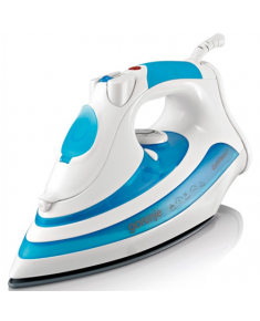 Gorenje SIH2200BC White/ blue, 2200 W, Steam Iron, Continuous steam 22 g/min, Steam boost performance 60 g/min, Auto power off, Anti-drip function, Anti-scale system, Vertical steam function, Water tank capacity 350 ml