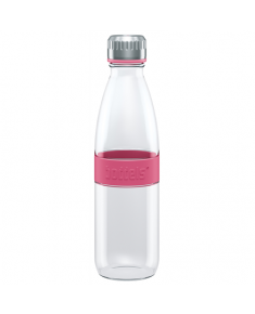 Boddels DREE Drinking bottle, glass Bottle, Raspberry red, Capacity 0.65 L, Bisphenol A (BPA) free