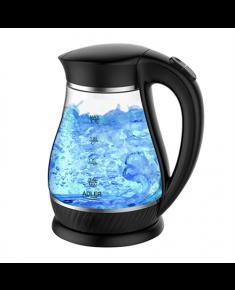 Adler Kettle  AD 1274  Standard, Plastic, glass, Black/ transparent, 2200 W, 360° rotational base, 1.7 L