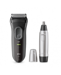 Braun Shaver + Trimmer 3000VS + EN10 Cordless, Charging time 1 h, Operating time 45 min, Nose trimmer included, Accumulator, Black/Silver