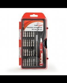 Cablexpert TK-SD-09 Precision screwdriver bit set, 36 pcs, Contains most used bits like Torx, Hex, Phillips, etc. Comfortable precision screwdriver handle.