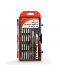 Cablexpert TK-SD-09 Precision screwdriver bit set, 36 pcs, Contains most used bits like Torx, Hex, Phillips, etc. Comfortable precision screwdriver handle.