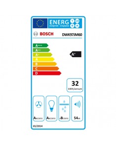 Bosch DWK97JM60 Hood, A+, Wall mounted, Width 90 cm, Max extraction power 722 m3/h, TouchSelect, Black Bosch