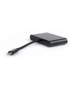 Cablexpert USB-C to 3-in-1 charging + VGA + USB3 adapter, Black
