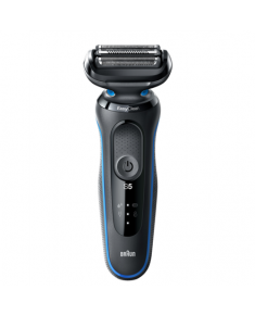 Braun Shaver 50-B4650cs Cordless, Charging time 1 h, Lithium Ion, Number of shaver heads/blades 3, Black/Blue, Wet & Dry