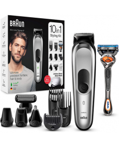 Braun Trimmer 10-in-1 MGK7220 Cordless, Number of length steps 13, Black/Silver