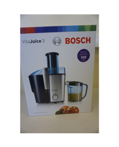 SALE OUT. Bosch MES3500 Juicer, 700W, Pulp container 2L, XL feeding tube, Juice container 1.25L, Silver/Blue Bosch Juicer MES3500 Type Centrifugal juicer, Black/Silver, 700 W, Extra large fruit input, Number of speeds 2, DAMAGED PACKAGING