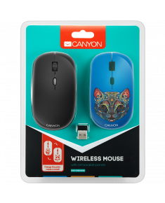 CANYON 2.4GHz wireless Optical Mouse with 4 buttons, DPI 800/1200/1600, 1 additional cover(Cat), black, 103*58*32mm, 0.087kg