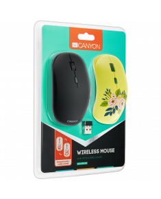 CANYON 2.4GHz wireless Optical Mouse with 4 buttons, DPI 800/1200/1600, 1 additional cover(Roses), black, 103*58*32mm, 0.087kg
