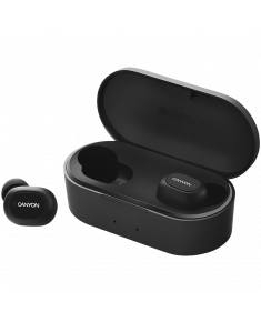 Canyon TWS Bluetooth sport headset, with microphone, BT V5.0, RTL8763BFR, battery EarBud 43mAh*2+Charging Case 800mAh, cable length 0.18m, 78*38*32mm, 0.063kg, Black