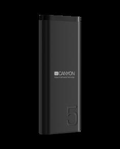 CANYON PB-53 Power bank 5000mAh Li-poly battery, Input 5V/2A, Output 5V/2.1A, with Smart IC, Black, USB cable length 0.25m, 120*52*12mm, 0.120Kg